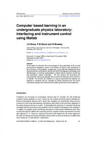 Computer based learning in an undergraduate physics laboratory ...
