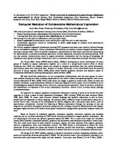 Computer Mediation of Collaborative Mathematical ... - Gerry Stahl