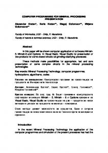 COMPUTER PROGRAMMES FOR MINERAL PROCESSING ...