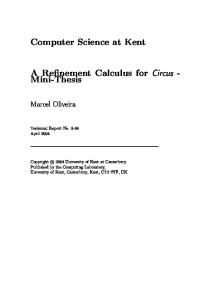 Computer Science at Kent A Refinement Calculus
