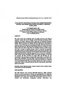 computer science journal holdings in selected ... - UM e-Journal