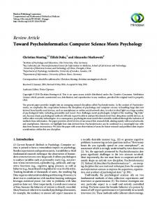 Computer Science Meets Psychology