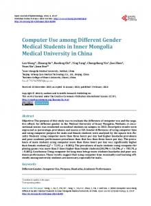 Computer Use among Different Gender Medical Students in Inner ...