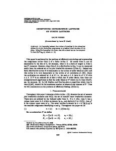 COMPUTING CONGRUENCE LATTICES OF FINITE LATTICES This ...