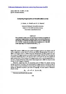 Computing integral points on Mordell's elliptic curves Collectanea ...