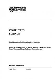 COMPUTING SCIENCE Cloud Computing for Chemical Activity ...