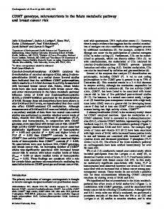 COMT genotype, micronutrients in the folate ... - Semantic Scholar