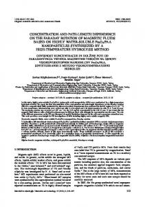 CONCENTRATION AND PATH-LENGTH DEPENDENCE ON THE ...