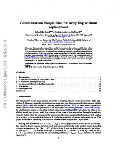 Concentration inequalities for sampling without replacement - CiteSeerX
