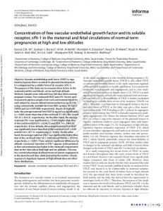 Concentration of free vascular endothelial growth