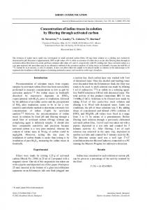 Concentration of iodine traces in solution by filtering through activated ...