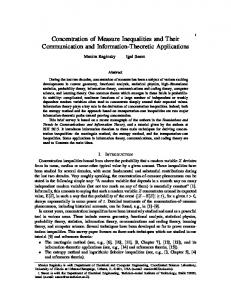 Concentration of Measure Inequalities and Their Communication and