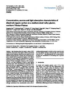 Concentration, sources and light absorption ... - The Cryosphere