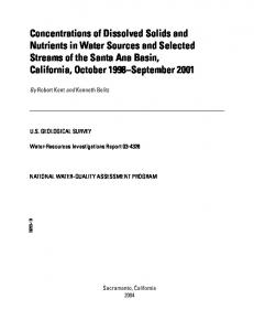 Concentrations of Dissolved Solids and Nutrients in Water Sources ...