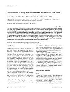 Concentrations of heavy metals in maternal and umbilical cord blood