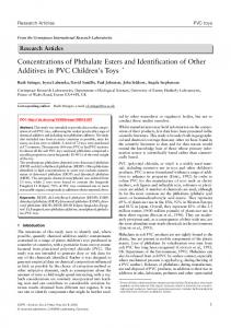 Concentrations of Phthalate Esters and Identification of Other ...