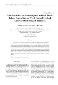Concentrations of Some Organic Acids in Potato