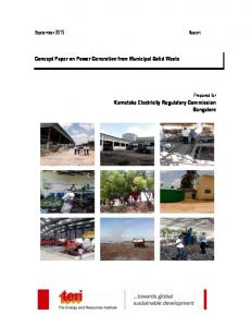 Concept Paper on Power Generation from Municipal Solid Waste