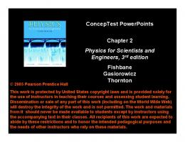ConcepTest PowerPoints Chapter 2 Physics for Scientists and ...