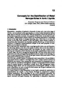 Concepts for the Stabilization of Metal Nanoparticles