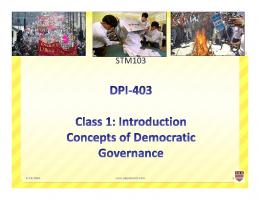 Concepts of Democratic Governance