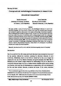 Conceptual and methodological innovations in the research of