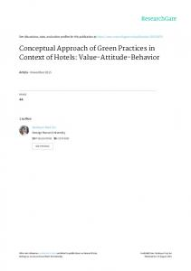 Conceptual Approach of Green Practices in Context of Hotels: Value ...