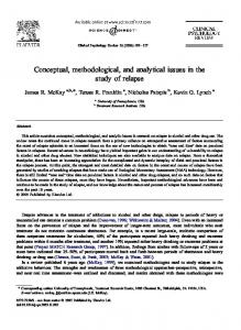 Conceptual, methodological, and analytical issues in the study of ...