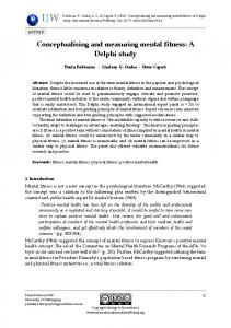 Conceptualising and measuring mental fitness: A Delphi ... - CiteSeerX