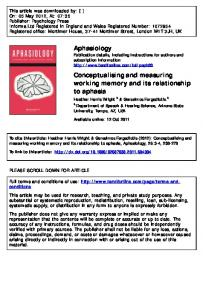 Conceptualising and measuring working memory and its relationship ...