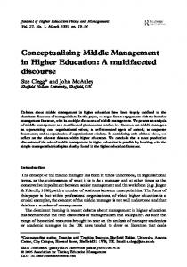 Conceptualising Middle Management in Higher Education: A ...
