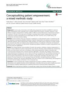 Conceptualising patient empowerment: a mixed methods ... - CiteSeerX