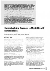 Conceptualising Recovery in Mental Health Rehabilitation