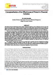 Conceptualization of the Effectiveness of Fintech in Financial ... - ijetsr