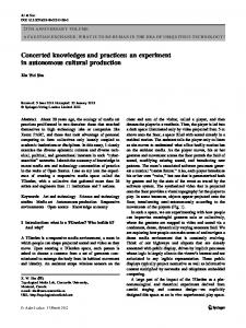 Concerted knowledges and practices: an experiment in autonomous ...