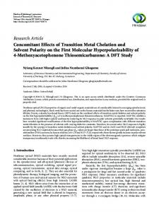 Concomitant Effects of Transition Metal Chelation and Solvent Polarity ...