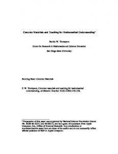 Concrete Materials and Teaching for Mathematical ... - Pat Thompson