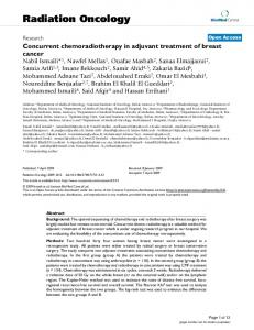 Concurrent chemoradiotherapy in adjuvant treatment of breast cancer ...