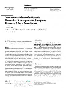 Concurrent Salmonella Mycotic Abdominal Aneurysm and Empyema ...