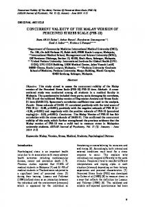 concurrent validity of the malay version of perceived stress ... - CiteSeerX