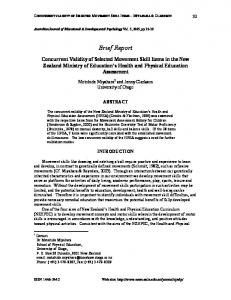 Concurrent validity of the New Zealand Ministry of Education's Health ...