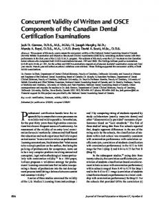Concurrent Validity of Written and OSCE Components of the Canadian ...