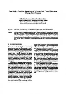 Condition Assessment of a Photovoltaic Power Plant using Change ...