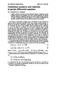 Conditional symmetry and reduction of partial ... - Semantic Scholar