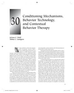 Conditioning Mechanisms, Behavior Technology, and Contextual ...
