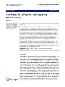 Conditions for effective smart learning environments - Springer Link