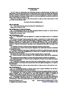 CONDOMINIUM ACT Act 59 of 1978 AN ACT relative to ...