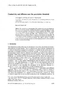 Conductivity and diffusion near the percolation threshold - CiteSeerX