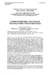 conductometric analysis of polyelectrolytes in solution - CiteSeerX