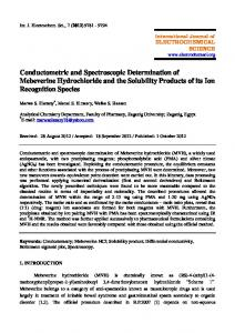 Conductometric and Spectroscopic Determination of Mebeverine ...